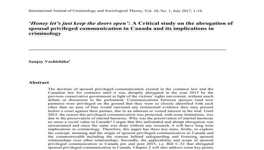 'Honey let's just keep the doors open': A Critical study on the abrogation of spousal privileged communication in Canada and its implications in criminology